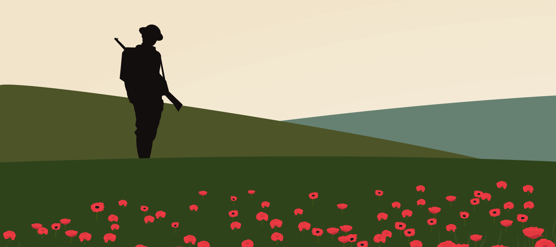 lonely soldier in poppy field