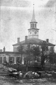 Black and white photograph of the 2nd Bourbon County courthouse