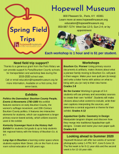 2020 Spring Field Trip Flier listing Hopewell Museum school field trip options and current exhibits.