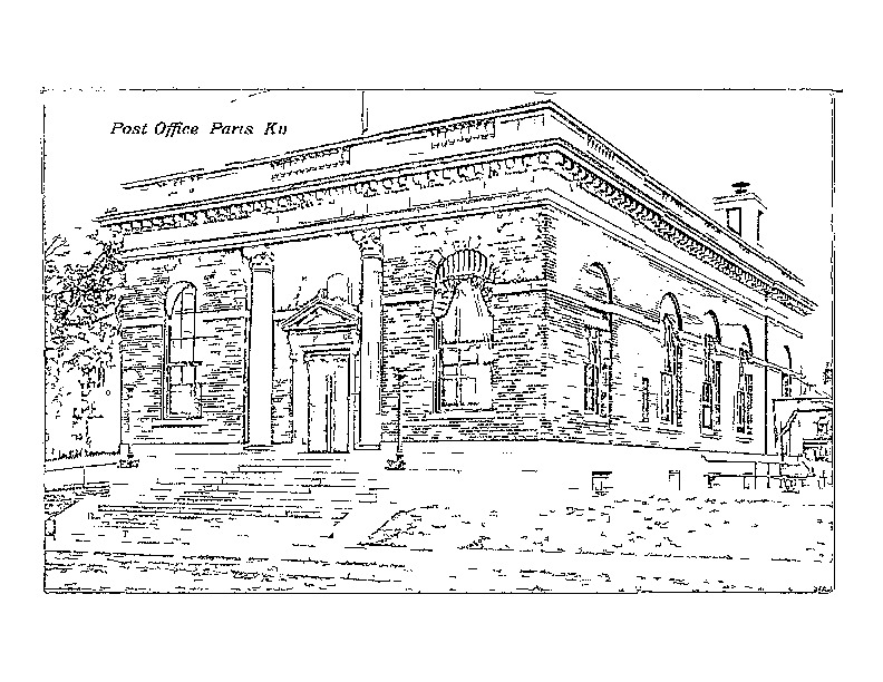 Coloring page of the Old Paris Post Office