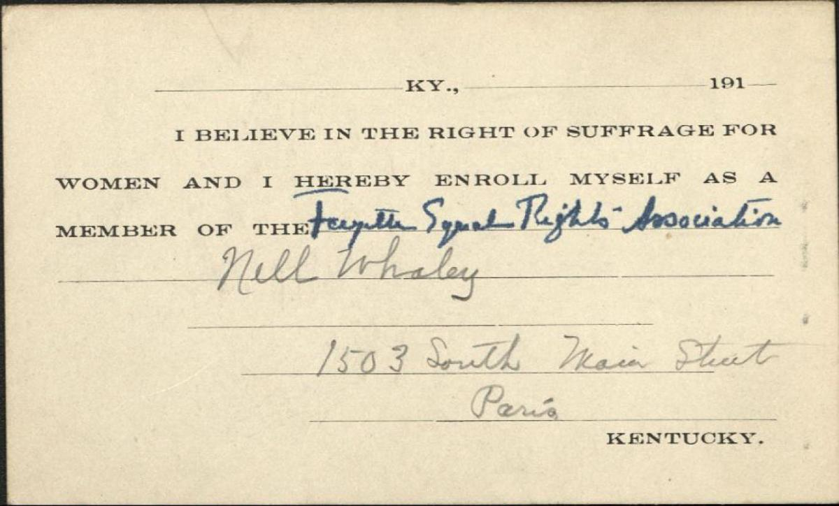 Nell Whaley FERA Membership Card [Image Courtesy of University of Kentucky Special Collections]